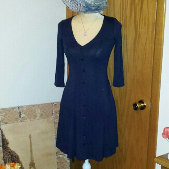 998d7e761dac Soprano Dresses | Nwt Navy Button Front Stretch Dress | Poshmark